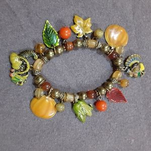 Thanksgiving Fall glass metal charm bracelet